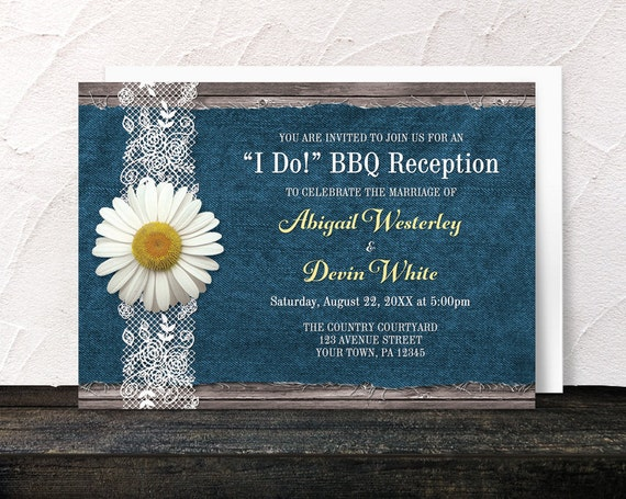I Do Bbq Reception Only Invitations Daisy Denim And Lace Rustic
