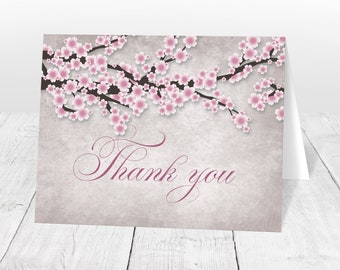 Cherry Blossom Thank You Cards - Pink Rustic Vintage Cherry Blossom Branches, Pink Thank You Cards - Printed Thank You Cards