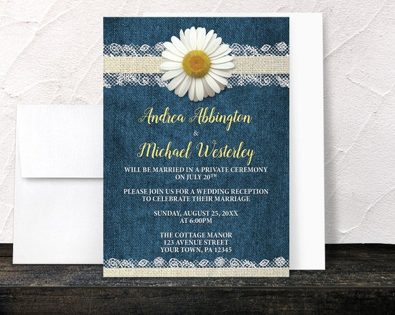 Denim Wedding Invitations: Daisy Reception Only Invitations