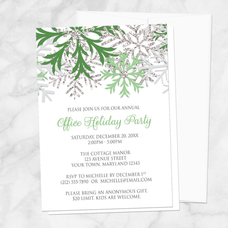 Snowflake Holiday Party Invitations  Green Silver Winter image 0