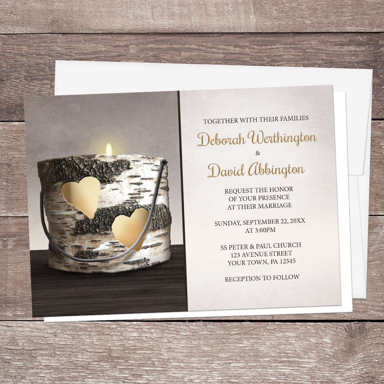 Candlelight Wedding Invitations: Rustic Candle Wedding Invitations And RSVP Cards Country