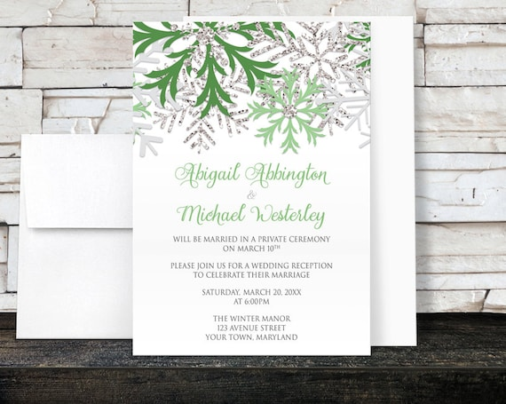Winter Reception Only Invitations Green And Silver Etsy
