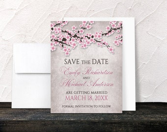 Rustic Pink Cherry Blossom Save the Date Cards - Spring or Summer Floral Pink - Printed Flat Cards