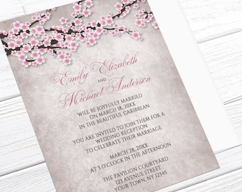 Cherry Blossom Reception Only Invitations - Rustic with Pink Cherry Blossoms - Spring or Summer Post-Wedding Reception - Printed Invitations