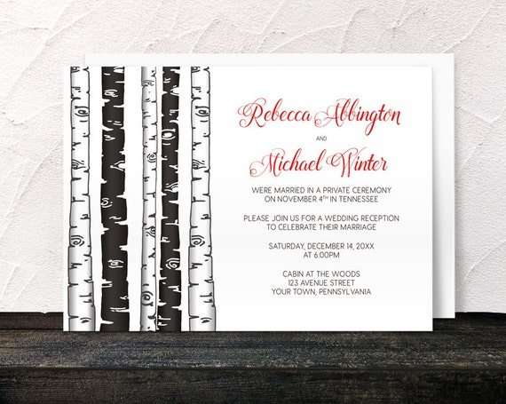 reception only invitations monochrome birch tree with red post