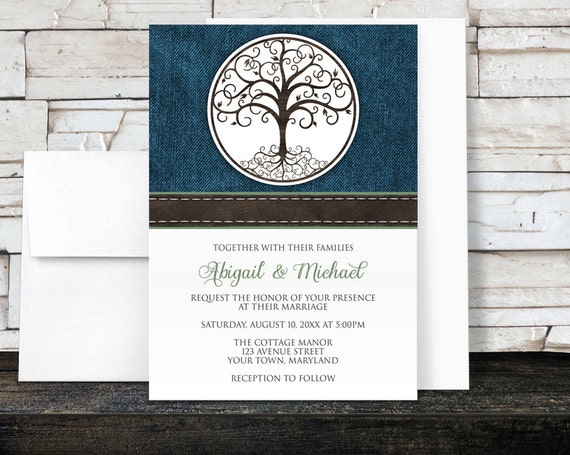 dbfa969788d Tree of Life Wedding Invitations - Rustic Tree of Life over Blue Denim with  Green - Printed Invitations. Artistically Invited