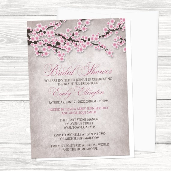cherry blossom bridal shower invitations rustic pink etsy