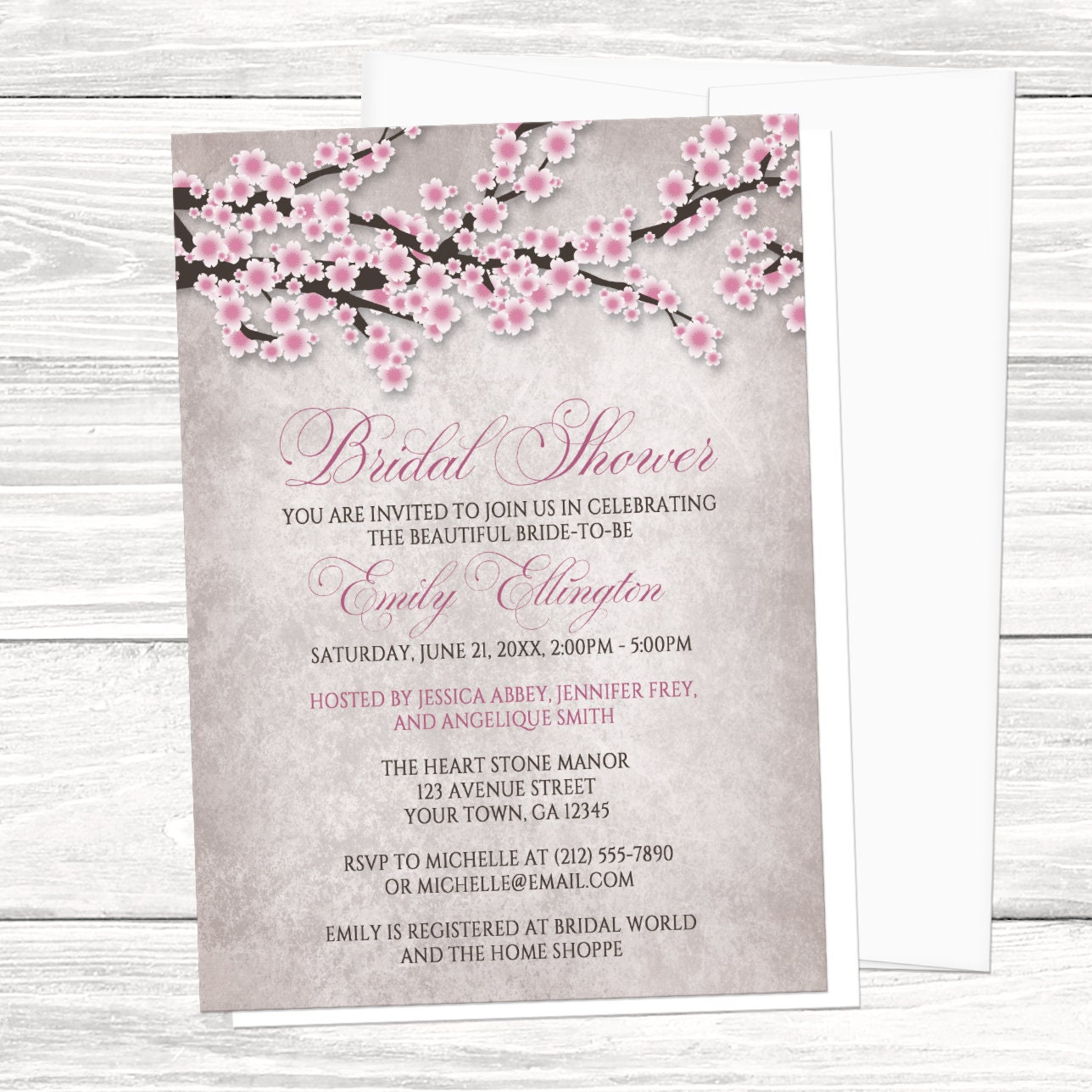 fdb7ff5a2f49 Cherry Blossom Bridal Shower Invitations Rustic Pink