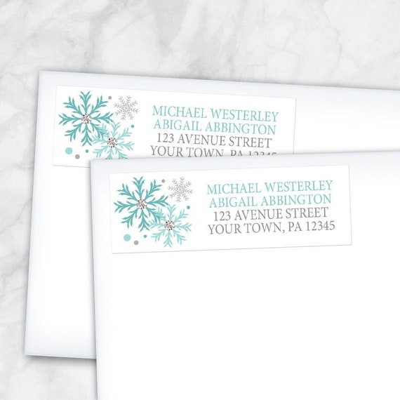 snowflake pattern in teal turquoise white Teal Winter Address Labels Printed Return Address Labels