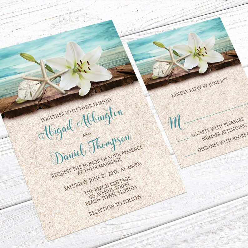 destination summer tropical wedding invites Beach Wedding Invitations Lily Seashells Sand Teal Printed