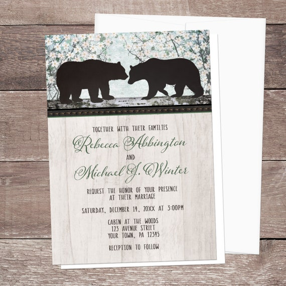 rustic bear wedding invitations country outdoorsy or woodsy etsy