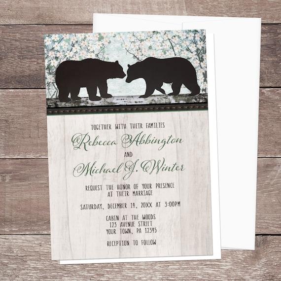 Rustic Woodsy Wedding Ideas: Rustic Bear Wedding Invitations