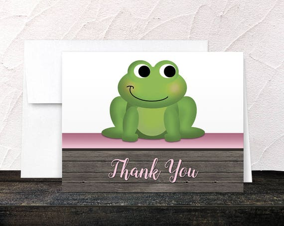 Purple Lily Thank You Cards Printed Lily Cards Pretty Floral and Rustic Wood design with Blue