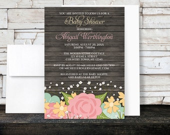 Baby Shower Invitations - Baby's Breath Rustic Floral Girl Baby Shower Invitations - Rustic Wood Floral - Printed Invitations