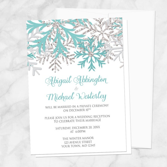 Teal Winter Reception Only Invitations Snowflake Teal White Silver