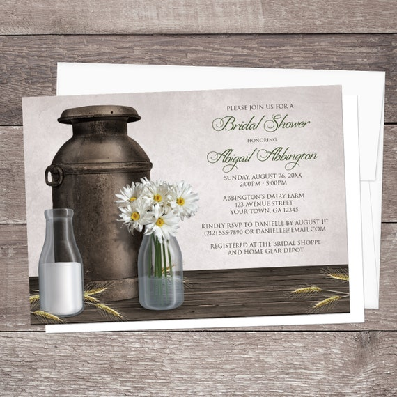 2783294b1ed Bridal Shower Invitations - Dairy Farm Rustic Country Antique Milk ...