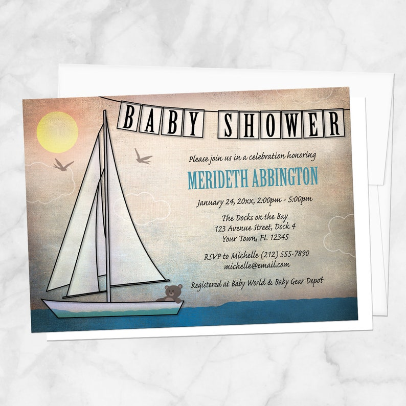Sailboat Baby Shower Invitations Rustic Nautical