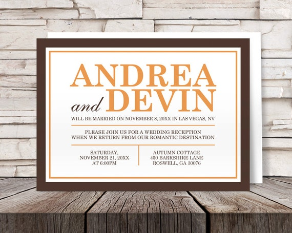 Brown Orange Autumn Reception Only Invitations And Rsvp Post