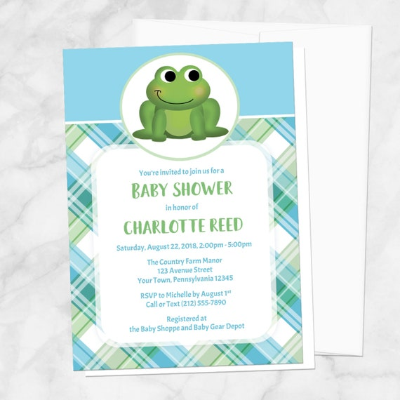 Frog Baby Shower Invitations - Cute Frog Green Blue Plaid