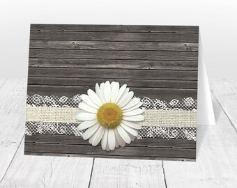 Daisy Note Cards - Burlap Lace Rustic Country Wood Floral - Yellow Brown Beige Daisy Thank You Cards - Printed Daisy Cards