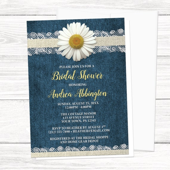 Rustic Daisy Wedding Invitations: Daisy Bridal Shower Invitations
