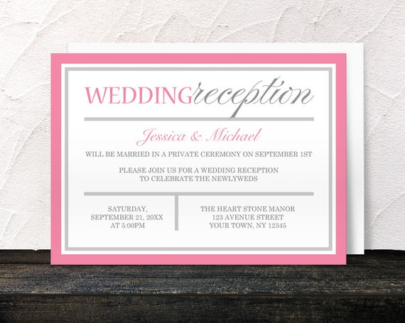 pink reception only invitations modern pink and gray design post