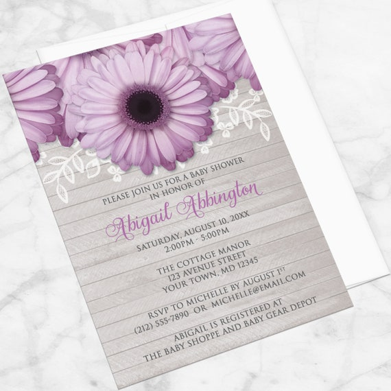 Purple Daisy Baby Shower Invitations Rustic Light Gray