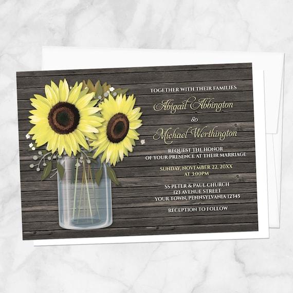 Rustic Mason Jar Flowers Pack of 10 Wedding Invitations /& RSVP