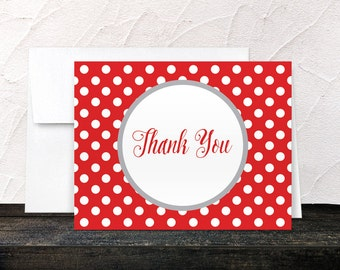 Red Thank You Cards - Gray Red Polka Dot - Winter Red Polka Dot Thank You Cards - Printed