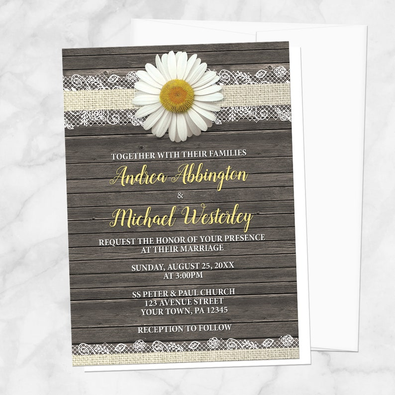 Daisy Wedding Invitations Burlap And Lace Rustic Wood Etsy