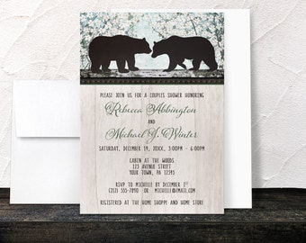 Bear Couples Shower Invitations - Rustic Floral and Light Wood - Spring or Summer Woodsy design - Printed Invitations