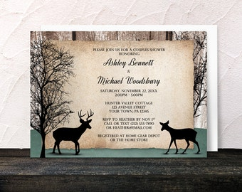 Rustic Deer Couples Shower Invitations and RSVP - Outdoorsy Winter Trees Woodsy Deer - Printed Invitations