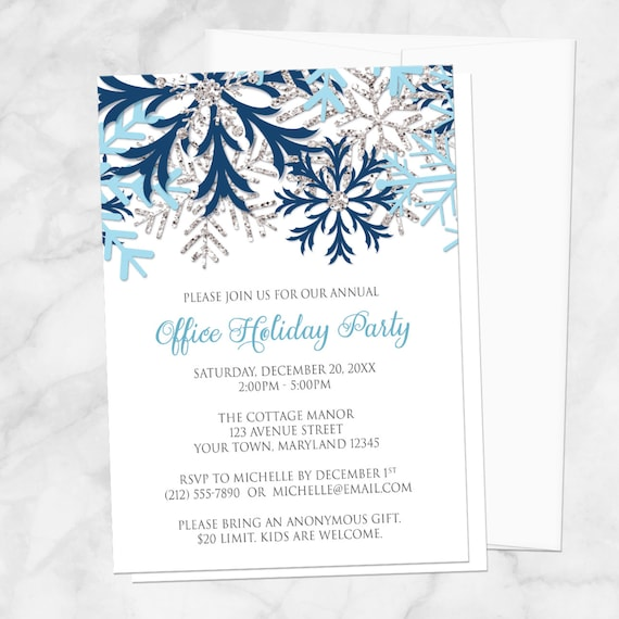 7a76b568b10 Snowflake Holiday Party Invitations - Blue Silver Winter