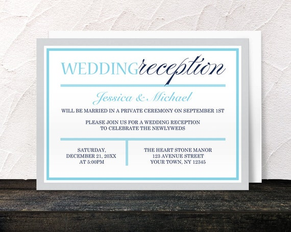 Winter Reception Only Invitations Navy Aqua Blue Gray Modern