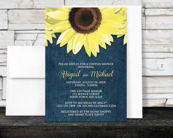 Cheap Sunflower Wedding Invitations: Sunflower Couples Shower Invitations