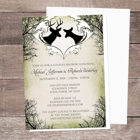 Rustic Deer Frame Couples Shower Invitations Green Woodsy