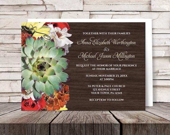 Orange And Green Wedding Invitations: Autumn Floral Bouquet Wood Wedding Invitations And RSVP