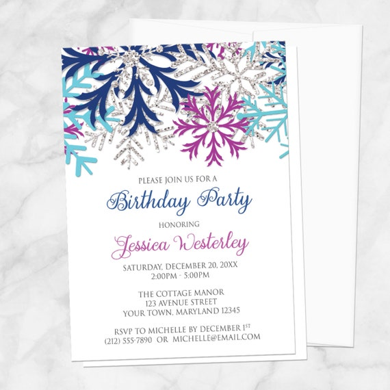 Winter Birthday Party Invitations Girl - Turquoise Navy