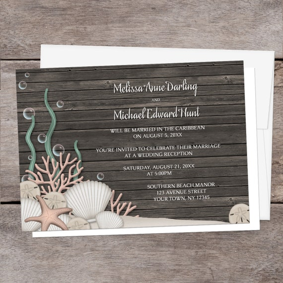 Beach Reception Only Invitations Rustic Wood
