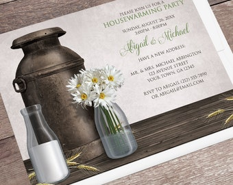Rustic Housewarming Invitations - Dairy Farm Country Antique Milk Can with Milk Bottles Daisies, Housewarming Party - Printed Invitations