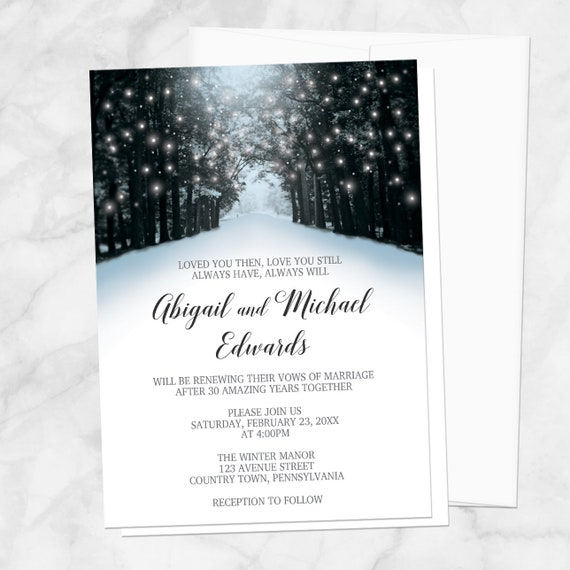 winter tree lights vow renewal invitations snowy road blue black