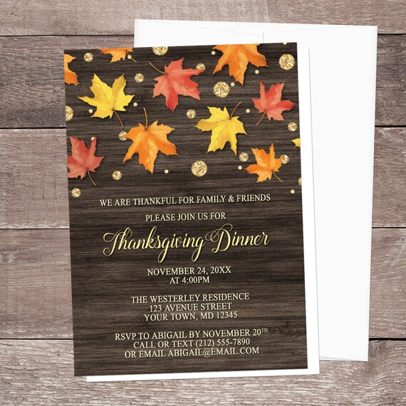 thanksgiving dinner invitations rustic falling leaves wood gold