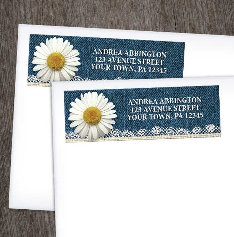 Yellow White and Beige with Rustic Blue Denim Burlap and Lace Daisy Address Labels Printed Address Labels