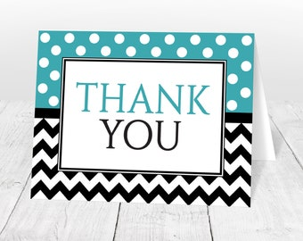 Polka Dot Thank You Cards - Turquoise Polka Dot and Chevron - Modern Trendy Pattern Printed Thank You Cards