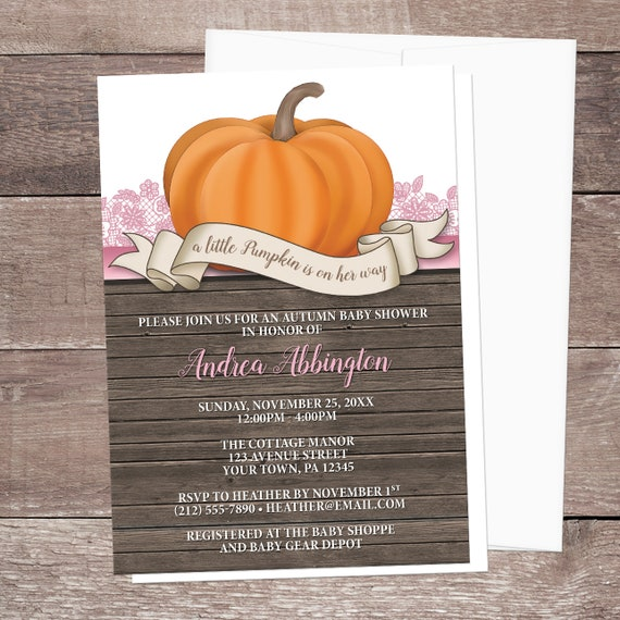 Little Pumpkin Baby Shower Invitations Rustic Orange With Pink A