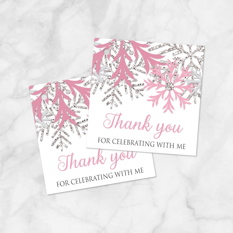 2.5 die cut cards with hole Winter Favor Tags Printed Favor Tags Pink Silver Snowflake Design on White Winter Thank You Favor Tags