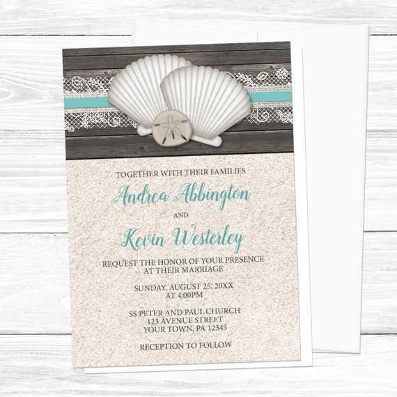 Beach Wedding Invitations Seashells Lace Rustic Wood And Sand