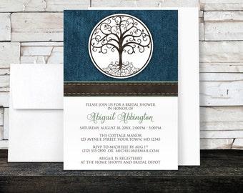 Bridal Shower Invitations - Rustic Tree of Life Denim