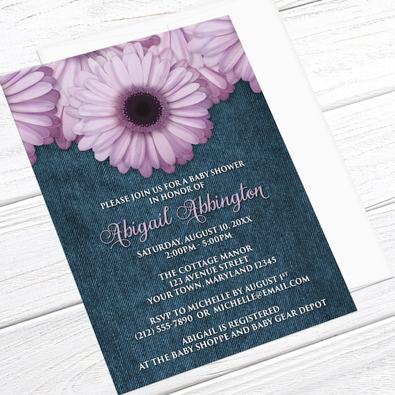 Purple Daisy Baby Shower Invitations Girl Rustic Country