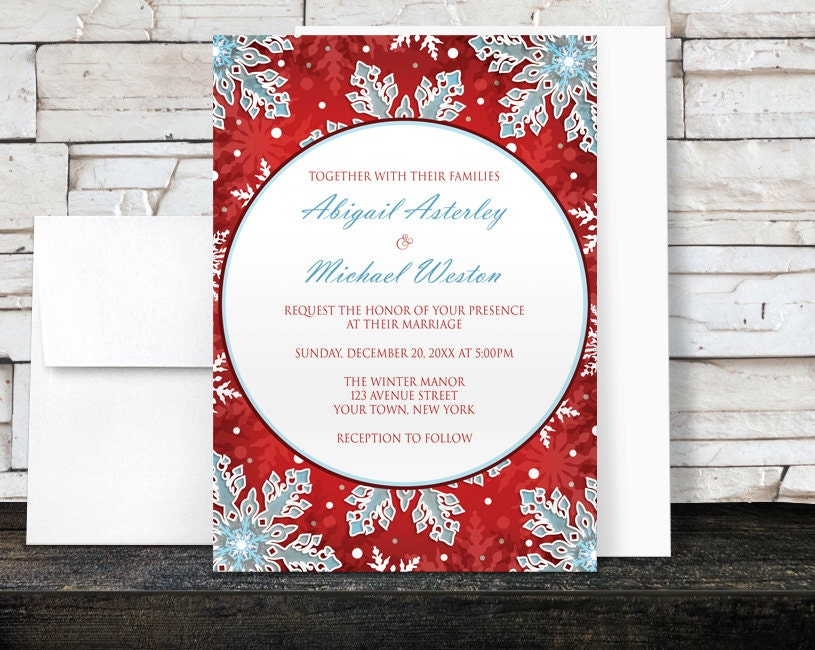 Red White And Blue Wedding Invitations: Winter Wedding Invitations Modern Red White And Blue